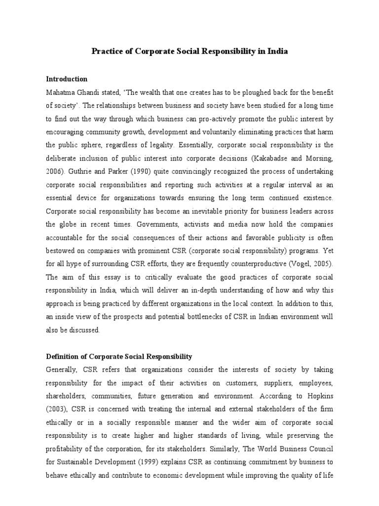 Corporate Social Responsibility in India | Corporate Social ...