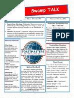 Swamp Talk - Okefenokee Toastmasters Newsletter, October 18