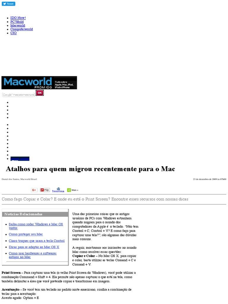 Atalhos Para Quem Migrou Recentemente Para o Mac - Macworld 3604c49974eb