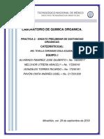 PRACTICA 2.-  ENSAYO PRELIMINAR DE SUSTANCIAS ORGÁNICAS.