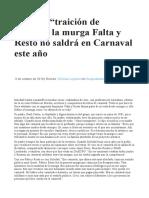 Por Una Traición de Género La Murga Falta y Resto No Saldrá en Carnaval Este Año