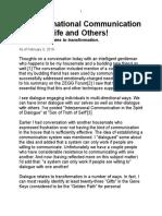 Dialogue & Personal Transformation