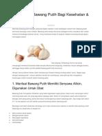 12 Manfaat Bawang Putih Bagi Kesehatan