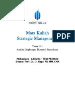 3, SM, Adrianto, Hapzi Ali, Strategic Management - Analisa Lingkungan Eksternal, Universitas Mercu Buana, 2018