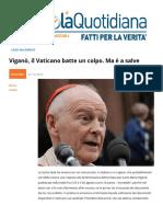 Viganò, Il Vaticano Batte Un Colpo Ma e a Salve
