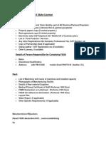 Document s for FSSAI State License