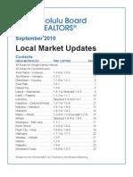 Honolulu Real Estate Local Market Statics Sept 2010