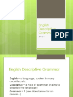 Basic Notions of English descriptive grammar