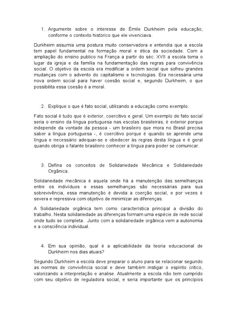 Argumente sobre o interesse de Émile Durkheim pela educação