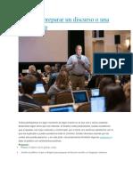 Tips Para Preparar Un Discurso o Una Conferencia