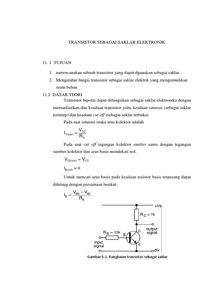 Transistor Sebagai Saklar Elektronik Rangkaian On Off Relay 1546736127v1