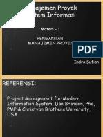 Manajemen Proyek Sistem Informasi - Materi 1, Pengantar Manajemen Proyek Sistem Informasi