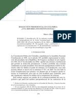 reeleción presidencial en Colombia. Una reforma inconstitucional