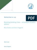 Tanaka and Hoggarth, Resolving banking crises — an analysis of policy