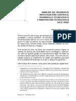 Análisis Del Régimen de Investigación Científica, Desarrollo Tecnológico e Innovación Tecnológica en El Perú