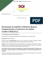 Restituição Do Indébito Tributário (Regras Fundamentais)