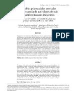 Acosta-Quiroz, C. O. Et Al (2014). Variables Psicosociales Asociadas a La Frecuencia de Actividades de Ocio en Adultos Mayores Mexicanos
