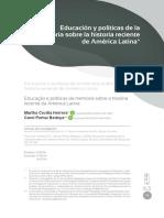 Educación y Políticas de la memoria sobre la historia reciente en América Latina