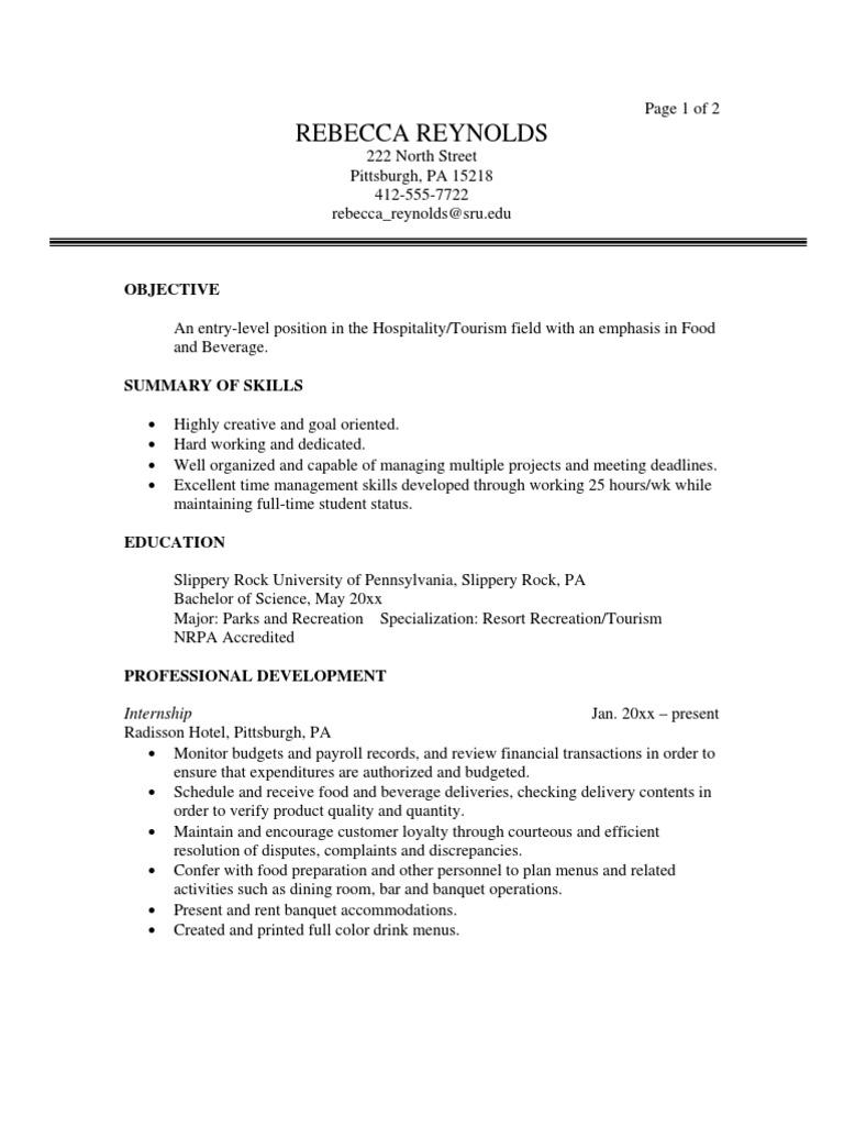 Tourism Sample Resume | Menu | Restaurants  Management Skills For Resume