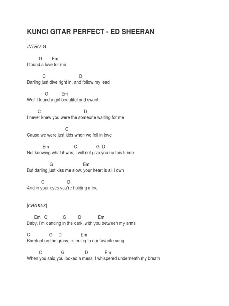 Kunci Gitar Perfect Songs Recorded Music