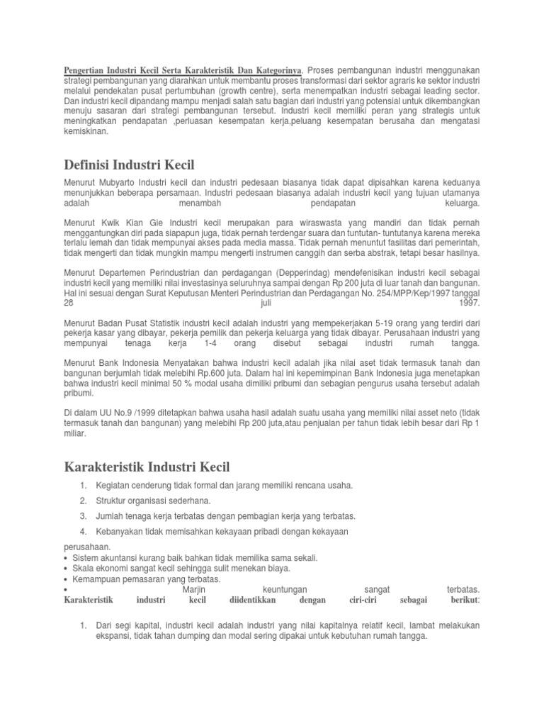 Pengertian Industri Kecil Serta Karakteristik Dan Kategorinya Docx