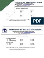 Contoh Formulir Skrining Pasien Di Pendaftaran
