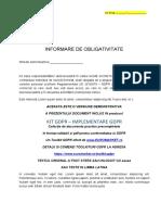 Kit Gdpr Declaratie de Punere in Vedere Si Obligativitate Protectie Date Angajati Uz Intern