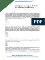 Simulado Sobre Ngulos Lei Angular de Thales Concurso Professor de Matemática