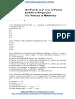 Simulado Sobre Função de 2º Grau Ou Função Quadrática e Inequações Concurso Professor de Matemática