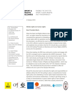 Sport and Rights Alliance Letter to the IOC