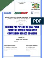 Soutage Par Pipeline Au Quai Puma Energy de Vridi Canal Avec Conversion de Bacs de Gasoil