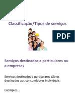 classificação dos serviços