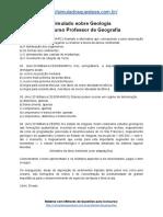 Simulado Sobre Geologia Concurso Professor de Geografia