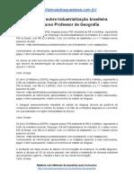 Simulado Sobre Industrialização Brasileira Concurso Professor de Geografia