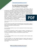 Simulado Sobre População Brasileira Concurso Professor de Geografia