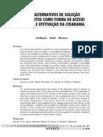 MEIOS ALTERNATIVOS DE SOLUÇÃO DE CONFLITOS