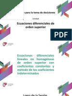 P_Sem06_Ses06_Ecuación Diferencial Lineal No Homogénea Con Coeficientes Constantes. Método de Los Coeficientes Indeterminados.
