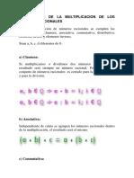 Propiedades de La Multiplicacion de Los Numeros Racionales