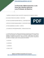 Simulado Sobre Fórmulas Balanceamento e Leis Ponderais Das Reações Químicas Concurso Professor de Química