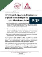 BOLETÍN- Crece participación de mujeres y jóvenes en dirigencia gremial tras Elecciones Cafeteras-2