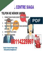 Call Centre Siaga 185 Cm Lebar Tinggi 45 Cm