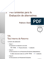 3.3 Evaluación de Alternativas (TIR ExtraInversión)