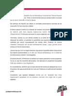 El comunicat dels diputats de JxCat processats sobre la decisió de la Mesa