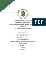Aspecto Generales de Hoticultura en El Ecuador