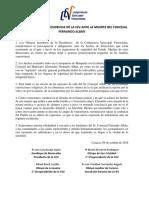 Comunicado de La Presiencia de La CEV Ante La Muerte Del Concejal