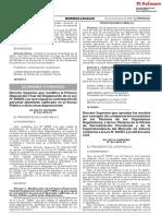 Decreto Supremo Que Modifica La Primera Disposicion Final de Decreto Supremo n 023 2018 Ef 1615368 1