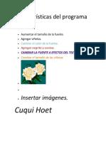 Características Del Programa Word Cuqui