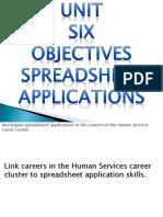 Unit Six Spreadsheet Applications