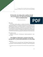 El Derecho a La Educacion Analisis Desde Una Perspectiva de Internacionalizacion de La Escolarizacion
