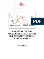 A Draft Economic Regulatory Framework For The Taxi Industry
